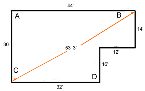 all remaining lines can be measured off of these knowing that the 44 line is perfectly square with the 30 line